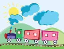 Locomotora y carros de vapor Foto de archivo libre de regalías