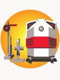 Locomotora y semáforo Imagen de archivo