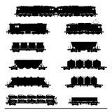 Locomotoras con diversos carros Fotografía de archivo libre de regalías