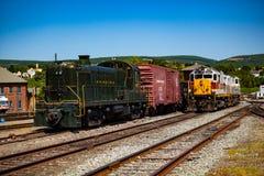 Locomotoras en el sitio histórico nacional de Steamtown en Scranton Imagen de archivo libre de regalías