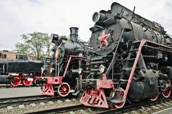 Locomotoras soviéticas viejas Foto de archivo