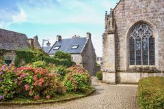Landscapes and architectures of Brittany. Locronan, France ,view of the apse of the St Ronan church Royalty Free Stock Photos