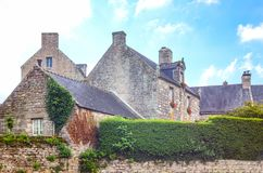 Landscapes and architectures of Brittany. Locronan, France, view of the traditional medieval houses in Charettes street Royalty Free Stock Photography