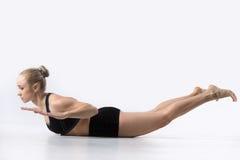 yoga locust pose fitness trainer stock image  image 10669407