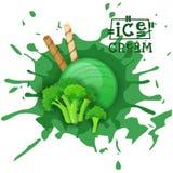 Lodów brokułów Balowy deser Wybiera Twój smak kawiarni plakat ilustracji