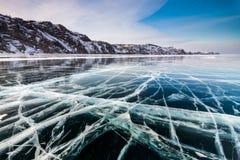 Lodów wzory na Jeziornym Baikal Syberia, Rosja Zdjęcia Royalty Free