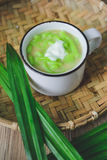 Lod Chong, Thai Dessert, Thai Cuisine, Rice Noodles Made of Rice Eaten with Stock Photo