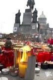 Lodernde Kerze - Tribut zu Vaclav Havel Lizenzfreies Stockbild