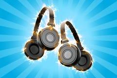 Lodernde Kopfhörer Stockfoto