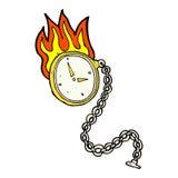 lodernde Uhr der komischen Karikatur Lizenzfreie Stockbilder