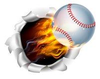 Lodernder Baseball-Ball, der ein Loch im Hintergrund zerreißt Lizenzfreies Stockfoto