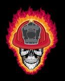 Lodernder Feuerwehrmann-Schädel und Sturzhelm lizenzfreie abbildung