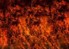 Lodernder voller Rahmen des Feuers Stockfotos