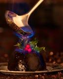 Lodernder Weihnachtspudding Stockbilder