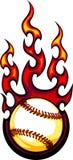 Loderndes Baseball-oder Softball-Kugel-Zeichen Lizenzfreie Stockfotos