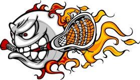 Loderndes Lacrosse-Kugel-Gesichts-vektorbild Stockbilder