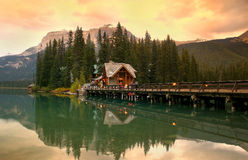 The lodge. Emerald Lake Lodge and reflections at Emerald lake in Yoho National park, Britsh Columbia, Canada Stock Images