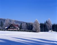 A lodge. A winter lodge during winter Stock Images