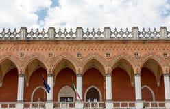 Lodge Amulea in the Great piazza of Prato della Valle also known as Ca` Duodo Palazzo Zacco in Padua. Italy stock photos