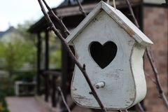 The lodge for birds, is painted with white paint, the nesting box, on a tree in a garden, at the dacha, a shape of heart Royalty Free Stock Images