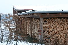 Lodge for firewood in wintertime royalty free stock images