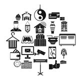 Lodge icons set, simple style. Lodge icons set. Simple set of 25 lodge vector icons for web isolated on white background Stock Photo