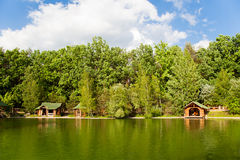 Lodge by the lake Stock Image