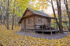 Lodge inside greenwood in autumn. Lodge surrounded by varicolored trees of greenwood in fall season royalty free stock photo