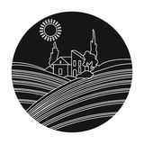 Lodge with vineyards icon in black style isolated on white background. Wine production symbol. Stock Images