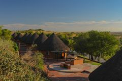 Tourism - small round lodges in Willem Pretorius game reserve in South Africa. Lodge in Willem Pretorius game reserve in South Africa royalty free stock photos