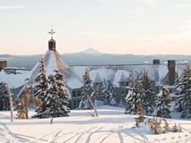 Lodge in the winter. Timberline Lodge at Mt. Hood in Oregon becomes snow bound in the winter Stock Photo