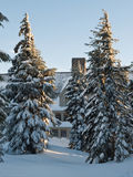 Lodge in the winter. Timberline Lodge at Mt. Hood in Oregon becomes snow bound in the winter Royalty Free Stock Photography
