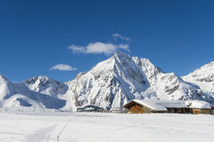 Lodge winter landscape. Winter ski resort in the tyrolean alps Royalty Free Stock Photos