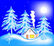 Lodge in wood in winter Royalty Free Stock Photos
