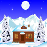 Lodge in wood in winter Royalty Free Stock Photography