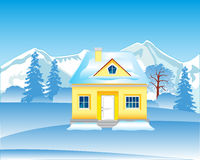 Lodge in wood in winter Stock Images