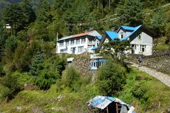 Lodges in Chheplung, Everest Base Camp trek, Nepal stock photo