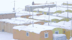 Lodges for Construction Workers and Watchmen in Arctic stock footage