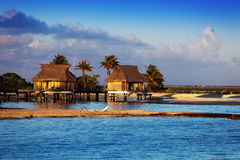 Lodges over transparent quiet sea water- tropical paradise, Maldives Royalty Free Stock Images