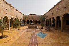 Lodges in Riad style at the edge of Sahara desert in Merzouga, near Erg Chebbi in Morocco. Africa Stock Image