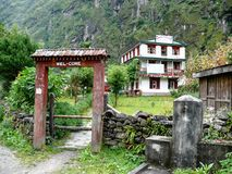 Lodges in Tal village - Nepal Stock Image