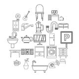 Lodging house icons set, outline style. Lodging house icons set. Outline set of 25 lodging house vector icons for web isolated on white background Stock Photography