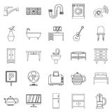 Lodging house icons set, outline style. Lodging house icons set. Outline set of 25 lodging house vector icons for web isolated on white background Royalty Free Stock Images