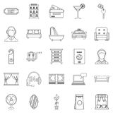 Lodging icons set, outline style. Lodging icons set. Outline set of 25 lodging vector icons for web isolated on white background Royalty Free Stock Images