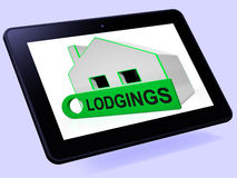 Lodgings House Tablet Means Room Or Apartment Available Stock Image