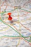 Lodi fijó en un mapa de Italia Fotografía de archivo libre de regalías