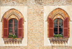 Lodi - Two windows of an ancient palace Royalty Free Stock Image