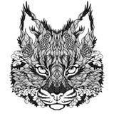 LODJUR-/bobcathuvudtatuering psychedelic vektor illustrationer
