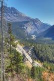 Lodlinje av den Icefields huvudvägen till och med Rocky Mountains Royaltyfri Foto