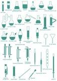 Lodlinje för laboratoriumglasföremål royaltyfri illustrationer